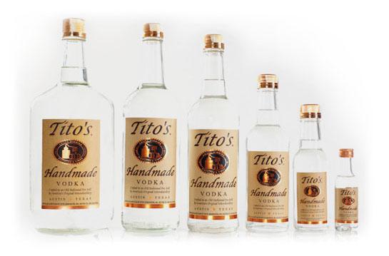 Various size bottles of Tito\'s Texas Vodka