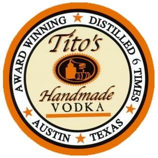 Tito\'s Logo: Tito\'s Handmade Vodka - Award Winning - Distilled 6 Times - Austin - Texas